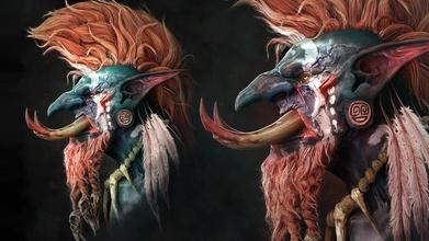 warcraft sculpture warcraft wow orc troll bust voljin games rpg character fantasy tribal horde statue sculpture creature mmorpg mmo fanart art sculptures