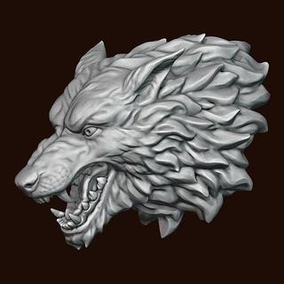 wolf head art wolf head fantasy stylized animal miniatures other print printing character alpha wolf wolf head head wolf game  thrones stark medallion art sculptures