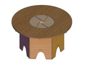 wood rotating dining table design-6 blade-diameter1450mmv1 wood diy kitchen furniture cad drawing iris table cad plan cad drawing diy table table design laser cut vector design hobby hobby diy