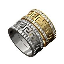 2 diamante versace grego chave padronizar bandas 3d impressão modelo moda grego chave Grécia meandro banda anel imprimível prata esterlina diamante menring padronizar ouro joalheria versace