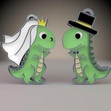 2 dinosaurio Boda llave anillos joyería joya Boda llave anillo dinosaurio velociraptor dinosaurio colgar pared ornamento juguete Arte Navidad casa santo reno Campaña hielo bota árbol estrella