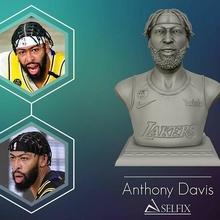 3d retrato Antonio Davis finales 3d impresión modelo baloncesto nba 3d 3dmodel 3dprint lakers Angeles cesta deporte equipo Arte esculturas