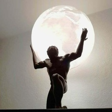 Atlas luminária Atlas grego mitologia luminária abajur litofano masculino nu decoração