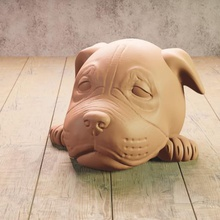 Baby amerikanisch Staffordshire Terrier Maskottchen Hund Terrier Hündchen Skulptur Tier Baby Kopf Eckzahn