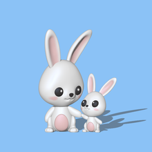 bunny mom son cute figure sculpt sculpture sculptures animal toy art toy easter miniatures bunny mom bunny son mom and son cute bunny bunny