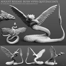 bush viper quetzalcoatl d&d bush viper viper snake quetzalcoatl dragon coatl serpent bush viper quetzalcoatl animal monster miniature creature mini tabletop dungeons and dragons labradoritewolf dnd