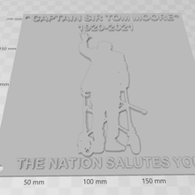 captain sir tom moore rip 3d print silhouette model wall plaque captain sir tom moore rip rip wall plaque 1920 2021 silhouette 3d supportless nation nhs salute charity waving remembrance day army solider service man england britain uk