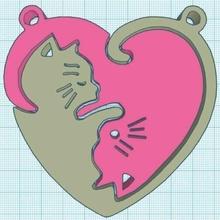 chat clé bague cœur forme porte clés clé bague bavarder chat cœur cadeau Saint Valentin journée anniversaire l'amour copains couple amoureux puzzle yin yang