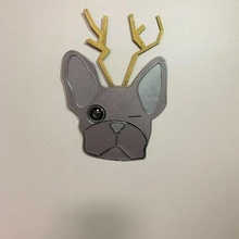 Noel Fransızca bulldog kapı gözetleme deliği Fransızca bulldog kapı dekorasyon Noel köpek