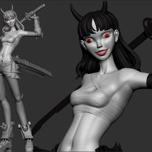 cyper girl demon - interstellar mercenary 3d print 3d print model girl art toys toy 3d 3dprint print woman sexy cyperpunk cypergirl scuplt redraw figures figure