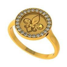 diamante aureola heráldico lirio anillo 3d impresión modelo joyería joya imprimible oro ornamento joyería Moda diamante libra esterlina flor heráldico lys fleur lis royal lirio anillo Boda compromiso