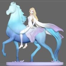 Elsa cavalo branco vestir frozen2 Disney menina Princesa 3d impressão modelo Elsa anna frozen2 cavalo congeladas estatueta estátua menina Bruni sexy fêmea Disney