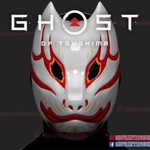 fantasma tsushima giapponese kitsune Volpe maschera frantumato maschera tomoe kitsune giapponese kitsune Volpe maschera Volpe maschera kitsune maschera fantasma fantasma tsushima samurai samurai maschera
