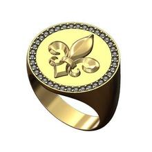 heraldic lily large 21mm diamond signet ring us size 9 3d print model flower heraldic lys fleur lis royal lily diamond large round signet ring jewelry printable gold silver fashion jewellery luxury diamond ring rings