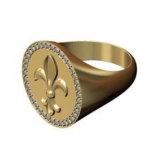 heraldic lys flower large 21mm diamond signet ring us size 9 3d print model flower heraldic lys fleur lis royal lily diamond large round signet ring jewelry printable gold silver fashion jewellery luxury diamond ring rings