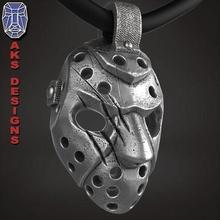 hockey mask 1 pendant jewelry jewel jewellery biker gang club riders punk fancy jewelri skull rings jason helmet guard horror hollywood fan art gangster mobster