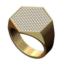 iced large hexagonal ring us size 9 3d print model jewelry ring large printable gold silver sterling jewellery luxury statement hexagonal hexagon accessories chunky diamond band bling swag diamond ring iced rings
