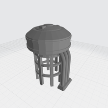 industrial elevated water fuel tank poly mechwarrior battletech tank reserve deposit water fuel oil wargame skirmish obstable blocking hindering mech fuse terrain scenery scenography low poly