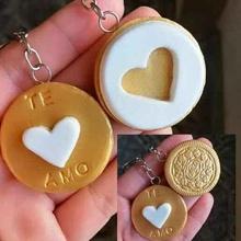 porte clés cœur forme oreo biscuit cœur clé bague cœur Saint Valentin journée oreo