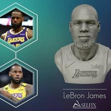 Lebron James lakers Jersey prêt 3d impression portrait sculpture art tête statue barbe homme capitaine Lebron James nba Roi lakers sculptures