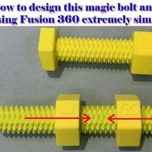magia tornillo nueces doble hilo doble roscado tornillo fusión 360 técnica magia tornillo nuez 3d_printing