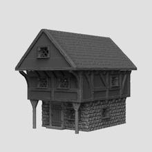 medieval scenery - harbour house & market stalls game terrain tabletop rpg rpg d&d dungeons & dragons