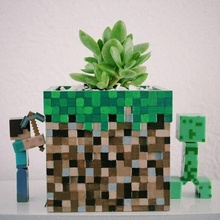 Minecraft cube planteur crayon supporter maincraft principale artisanat Jeux jeux vidéos cube planteur trousse crayon titulaire soutien