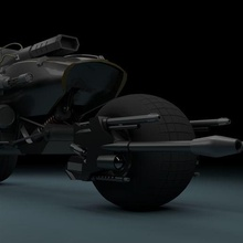 modified bat cycle batman bat mobile bat cycle bat tank machine gun rocket launcher semi-machine gun laser gun sci-fi futuristic weapon low poly art toy