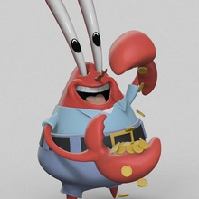 mr krabs art figurines miniatures 3d printing toy cartoon character art game hero sponge bob patrick star squidward gary snail plankton nintendo collectible