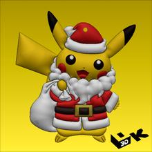 Pikachu Navidad llavero Navidad ornamento Pikachu pokemon santo claustro Navidad llavero Navidad ornamento arte fan anime pokemon figura alivio ready4print
