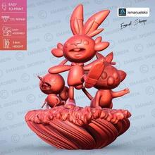 pokemon galar statua gioco jannie grookey nobile cambusa pokemon nintendo 8 ° generazione stl stampa 3d