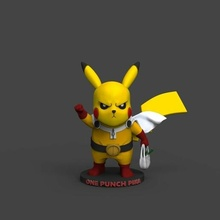 punch pika art toy anime one punch man sleeve pikachu pokemon figure collectible art sculpture