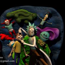 rick morty morty diorama 3dprint characters scene rick