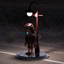 sad robot - my heart game robot sad robot sad sad robot articulated shoulder toy great construction big constructor street light diorama scenary scenario light