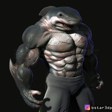 shark man fan art art art shark-human devil demon anime game character anatomy sculpture human man shark shark man shark-man