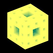sierpinski-menger sponge 2nd iteration art menger monge sierpinski koch fractal cube carpet sponge math geometry algorithm recursive iteration iterative square