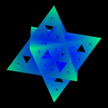 sierpinski octostar merkaba itération 3 étoile éponge sierpinski tétraèdre pyramide Triangle merkaba octostar octaèdre math mathématiques fractale modèle motif étoilé