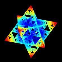 sierpinski octostar merkaba iteration 5 sierpinski tetrahedron pyramid triangle merkaba octostar octahedron math mathematics fractal pattern motif star sponge stellated