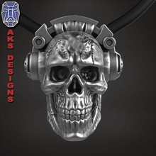 skull headphone 1 jewelry jewel jewellery biker gang club riders mens womens punk fancy jewelri skull earphone music dude rock band jewelry pendants