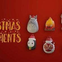 estudio ghibli Navidad adornos lindo chihiro ghibli cara diorama hirama juguete Arte anime Navidad totoro mononoke calcifer aullido cara
