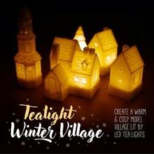 bougie chauffe plat hiver village hiver Noël décoration lumière bougie chauffe plat modèle maison manoir arbre chapelle cloche tour Noël village neigeux