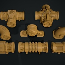 warhammer 40k modular pipework warhammer 40k tabletop army necron thousand sons 3d print t'au tau pipe work pipework system magnetize scenery battle mission secondary board game games toys scifi
