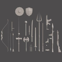 weapons pack figurines toys poly weapons figurines toy low poly