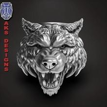 wolf 1 ring jewelry jewel jewellery biker gang club riders punk jewelri pendant skull rings beast dog wild animal organic fur hairs teeth angry jewelry pendants