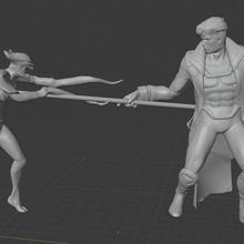 x-men diorama gambit vs brood game 3d print x-men statue avangers brood wolverine gambit cyclops colossus psylocke rogue diorama darth vader stanlee fanart starwars comic spiderman dc marvel xmen