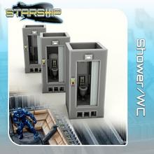 ducha wc Tienda sci fi estrella terreno ciencia ficción guerras mesa nave estelar aterrizaje 28mm hangar cerradura abierta viajero peligro miniatura buscador estrellas viajero