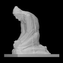 monaco scansione stampabile figura monaco scultura statua bronzo seduta pregando Croazia monastero francescano dove