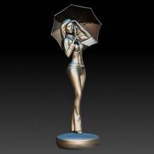menina guarda chuva jardim fêmea estatueta menina senhora escultura mulher personagem miniatura guarda chuva pessoa donzela
