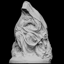 seated virgin mary mater dolorosa scan sculpture death seated mary fabric virgin mourning lamentation artec cc0 openglam artec-eva smk-open mater-dolorosa