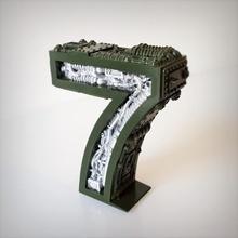 steampunk número 7 número letra 7 alfabeto steampunk
